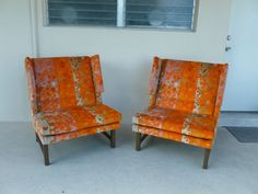 PAIR 60'S DUNBAR  EDWARD WORMLEY WINGED CLUB CHAIRS W JACK LENOR LARSEN FABRIC | Antiques, Furniture, Chairs | eBay!