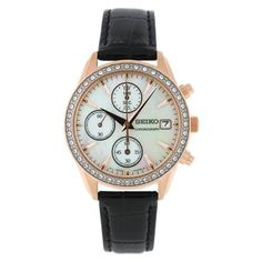 Seiko Women's SNDY14 CalfskinAnalog with Mother-Of-Pearl Dial Watch Seiko. $83.16. Water-resistant to 30 m (99 feet). Scratch resistant hardlex. Case diameter: 34 mm. Japanese quartz movement. Chronograph watch, stainless steel case