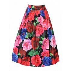 Choies Multicolor Floral High Waist Skater Midi Skirt ($20) ❤ liked on Polyvore featuring skirts, multi, midi skirt, knee length skater skirt, red midi skirt, red high waisted skirt and high-waisted skirts