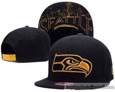 Seattle Seahawks Snapback Hats Black Metallic Gold