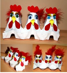 Chickens made out of a recycled empty egg carton! Such a fun craft for kids to…