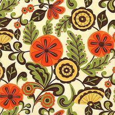 Moda Pumpkins Gone Wild - Fanciful Floral, Wheat