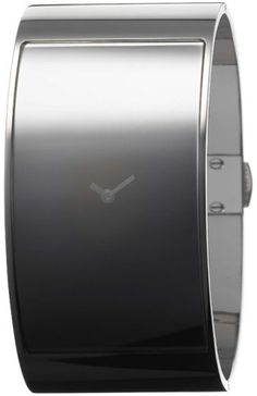 Calvin Klein Quartz, Grey Tone Cuff Bracelet with Black Invisible Flash Dial - Womens Watch K3423330: Watches: Amazon.com