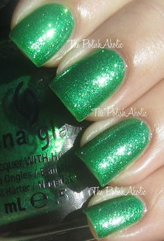 China Glaze Cirque du Soleil: Worlds Away Collection -- Running In Circles is very finely milled green glitter in a green tinted base.