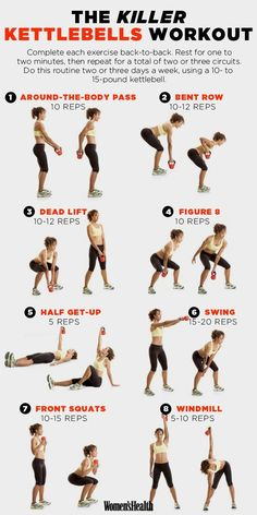 8 Kettlebell Exercises That'll Sculpt Your Entire Body! Killer workout! Great for total body toning! #kettlebellexercises #totalbodytoning #workouteveryday
