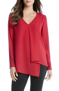 Karen Kane Draped Asymmetrical Top - Red S Iranian Women Fashion, Muslim Fashion, Boho Fashion, Fashion Outfits, Karen Kane, Blouse Styles, Blouse Designs, Hijab Stile, Nordstrom