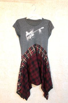 REVIVAL Boho TShirt, Bohemian Junk Gypsy Style, Country Girl Chic, Free People Style, Grunge Rocker Goth Plaid