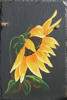 Sunflower Slate by gifthorseartfarm on Etsy Fall Canvas Painting, Spring Painting, Pallet Painting, Tole Painting, Painting On Wood, Canvas Art, Outdoor Painting, Slate Art, Slate Tiles