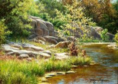 Realistic Landscape Oil Paintings | realistic Texas landscape with stream oil painting by William Hagerman