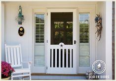 Wooden Screen Storm Door 045 Aluminum Screen Doors, Wood Screen Door, Wooden Screen, Front Door Colors, Front Door Decor, Front Porch, Wood Storm Doors, Welcome Signs Front Door, Screen House