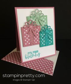 Today's birthday card showcases a sweet trio of gifts, Balloon Adventures photopolymer stamp set and coordinating Balloon Pop-Up Thinlit Dies. Both the stamp set and die are available in the Stampin'