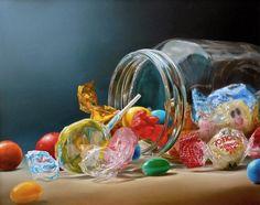 realistic oil painting by Dutch Artist Tjalf Sparnaay Art Hyperréaliste, Tjalf Sparnaay, Hyperrealistic Art, Hyper Realistic Paintings, Awesome Paintings, Candy Art, Food Painting, Jar Painting, Dutch Artists