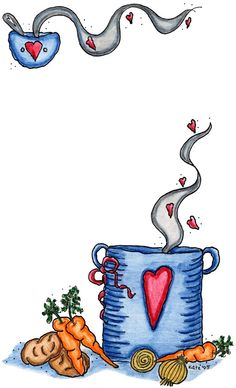Steaming Cuppa with veggies Recipe Scrapbook, My Scrapbook, Homemade Recipe Books, Recipe Paper, Coffee Cup Art, Diy And Crafts, Paper Crafts, Printable Recipe Cards, Clip Art