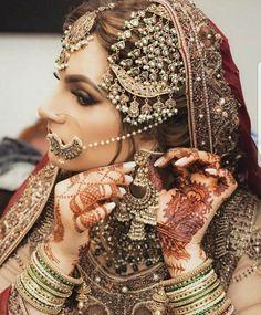 bridal jewelry for the radiant bride Indian Bridal Fashion, Pakistani Bridal Wear, Pakistani Wedding Dresses, Bridal Dresses, Desi Wedding, Wedding Wear, Wedding Attire, Wedding Girl, Wedding Veils