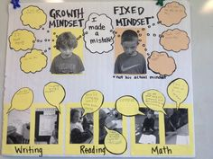 Growth vs. Fixed Mindset chart with student pictures
