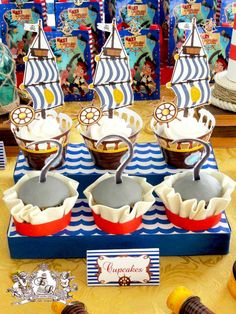 Cupcakes at a Jake and Neverland Pirates birthday party! See more party planning ideas at CatchMyParty.com!
