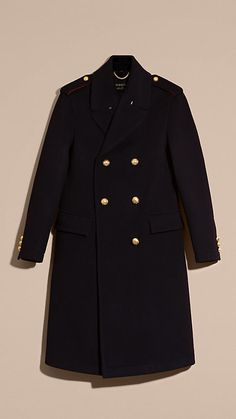 Navy Technical Wool Military Overcoat - Image 7