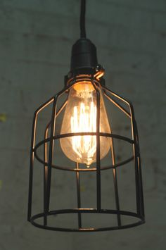 Industrial lighting from Fat Shack Vintage Cage Light Fixture, Cage Pendant Light, Hanging Light Fixtures, Pendant Light Fixtures, Ceiling Fixtures, Pendant Lighting, Ceiling Lights, Lamp Light, Light Bulb