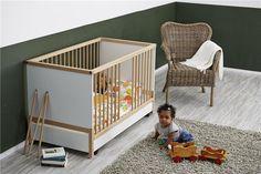 Lit bébé pliable de 65x130 cm coloris blanc et naturel - #Geuther - #BadBouille