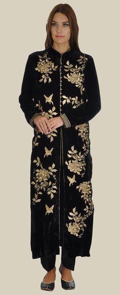 Black Silk-Velvet Birds- Floral Tilla Embroidered Jacket With Pants