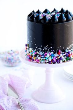 Glam Rock Layer Cake by Sweetapolita {Note~ This cake is perfect for my of July! ~ I LOVE Black & LOVE Glam Rock Twinkle Sprinkle Medley by Sweetapolita ~ JanelleDawn ~ Snow} Cute Cakes, Pretty Cakes, Yummy Cakes, Beautiful Cakes, Amazing Cakes, Sweet Cakes, Food Cakes, Cupcake Cakes, Party Cupcakes