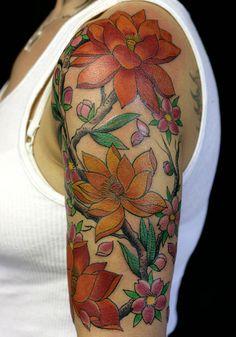 half sleeve tattoos flowers   25 Fascinating Half Sleeve Tattoos For Women   CreativeFan