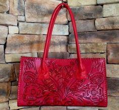 72695b1008 JUAN ANTONIO Red Tooled Leather Handbag