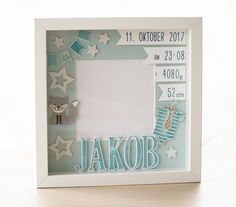 Personalized gift for birth in frame, baby frame, baptisbe gift, frame for birth Personalisiertes Geschenk zur Geburt im Rahmen Baptism Gifts, Christening Gifts, Baby Baptism, Baby Room Decor, Nursery Decor, Marco Ikea, Cadre Diy, Ideas Scrapbook, Nursery Pictures