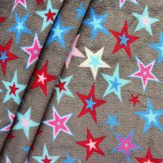 Wellness Fleece bedruckt  Sterne Mix Multicolor  Farbe Grau