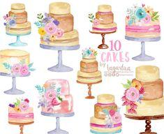 https://www.etsy.com/mx/listing/626794989/pasteles-de-boda-pastelillos-acuarela #cakes #bakery #floralwatercolor #watercolorclipart #pasteles #bakingnews #blog #png #art