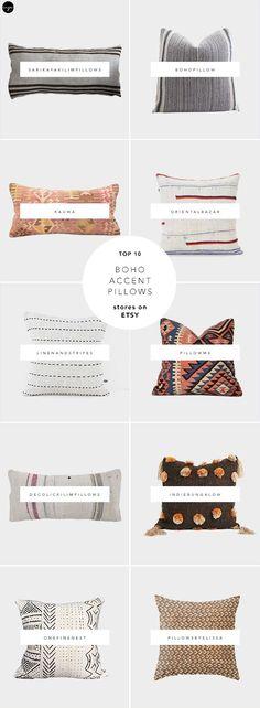 Kilim pillows, mudcloth pillows, ikat pillows, hmong pillows, boho vintage pillows, best sources for handmade pillows on Etsy