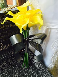 """Real Touch Yellow Calla Lily Bridal Bouquet 1 Bridal Bouquet 9 Beautiful yellow real touch calla lilies hand wrapped in floral gray satin ribbon. Natural Touch Flowers. A genuine """"real-touch"""" calla li"""