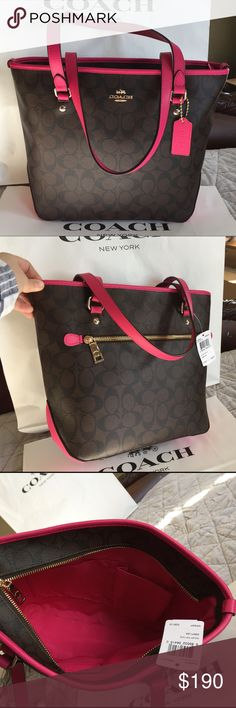 Coach Bag 100% Authentic Coach Tote Bag, brand new with tag!color Brown/Pink Ruby. Coach Bags Totes