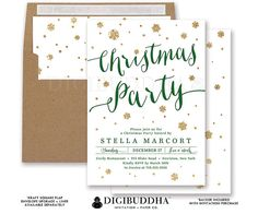 CHRISTMAS PARTY INVITATIONS Gold Glitter Snowflakes Holiday Card Green + Gold Dinner Ready Made or DiY Printable Christmas Invites - Stella style. Kraft envelopes and matching envelope liners also available. Only at digibuddha.com