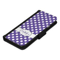 Personalize Ultra violet white polka dots pattern Monogram iPhone 8/7 6 Wallet Case by #PLdesign #style #fashion #pantone #ultraviolet @zazzle