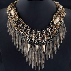 Rhinestone Inlaid Multi-layer Sparkling Rivets and Tassels Chunky Necklace