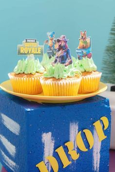 Check out this cool Fortnite birthday party at CatchMyParty.com! The cupcakes are fun! #catchmyparty #partyideas #fortnite #fortniteparty #boybirthdayparty