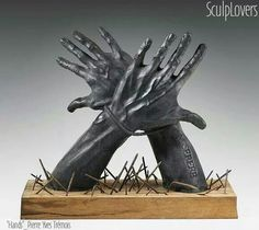 The nail like elements at the bottom are disturbing. Art Sculpture, Sculptures, Scrapbooking, Gravure, Artwork, Bronze, Hands, Science, Contemporary Sculpture