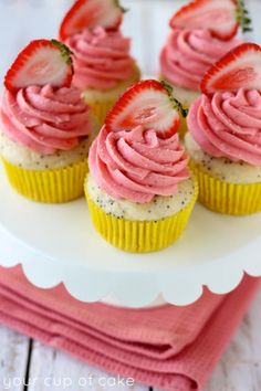 Lemon Poppy Seed Cupcakes with Strawberry Butterream
