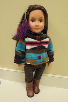 Handmade Aztec Fleece Jacket/Brown Suede Pants Set for Our Generation, My Life & American Girl Dolls