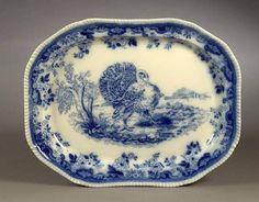Blue transferware Turkey Platter by Copeland circa 1870