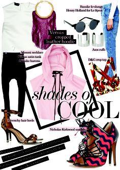 Shades of cool. Leather Hoodie, Henry Holland, Le Specs, Nicholas Kirkwood, Missoni, Asos, Shades, Crop Tops, Cool Stuff