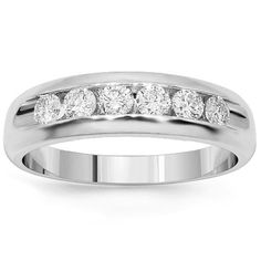 This elegant womens diamond wedding band is handcrafted in lustrous Platinum. Six brilliant round cut diamonds are channel set half way around the band. The frame measures to 3/16 inches in width and weighs 7 grams. This  womens wedding band is an ideal gift for the one who appreciates elegance and simplicity. $2,313.00
