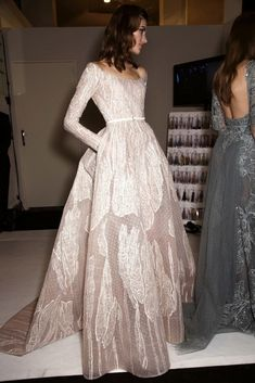 Off-the-shoulder embroidered gown at Elie Saab's dreamy SS '15 couture show