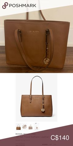 Large jet set saffiano tote (beige) Large tote bag in beige,  clean with minimal wear. Retails $179+tax selling for $140. Michael Kors Bags Totes Large Tote, Womens Tote Bags, Jet Set, Michael Kors Bag, Totes, Minimal, Beige, Handbags, Best Deals