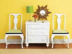 Colorful Home Décor – love the white furniture against the bright colored wall