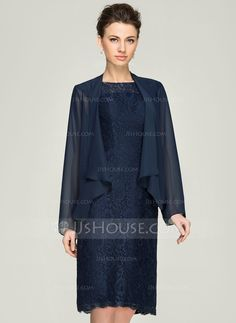 Sheath/Column Scoop Neck Knee-Length Zipper Up Cap Straps Sleeveless Yes 2015 Dark Navy Spring Summer Fall General Plus Lace Mother of the Bride Dress
