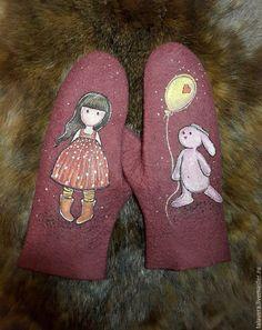 Купить Варежки валяные, росписные - бордовый, рисунок, войлок, валяные варежки, варежки валяные
