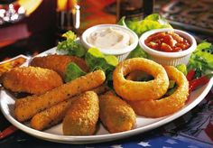 Image detail for -Appetizers    i dont know exactly what it is but i would say its ether mozzarella sticks,fish,or chicken with greens and peppers w/ dip.