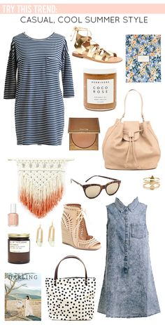 La Petite Fashionista: Casual Cool Summer Style | bucket Bag, striped dress, chambray & gladiator sandals